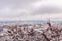 View from Schlossberg in Graz to Herz-Jesu-Church in winter. View from Schlossberg in Graz to Herz-Jesu-Church with some snow in winter stock image