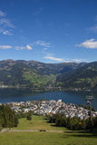 View From Schmittenhöhe To Zell Am See & Lake Zell. Taken on September 29th, 2015 - Wonderful and sunny days in fall with also already some snow on the more Stock Image