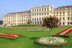The view on the Schonbrunn Palace and park in front of him with red and white flowers in the sunny day. Stock Photography