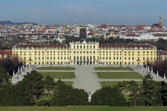 Panorama. Schonbrunn Palace seen from The Gloriette - landmark attraction in Vienna, Austria. City landscape Royalty Free Stock Images