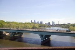 View of Schuylkill River and Philadelphia skyline from moving Amtrak train, Philadelphia, Pennsylvania Royalty Free Stock Photo