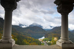 View of Schwangau from Neuschwanstein. Beautiful landscape and Schwangau village seen from Neuschwanstein castle in Bavaria Stock Images