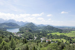 View of Schwangau town and Alpsee lake, photoshoot from Hohenschwangau castle hill Stock Photography