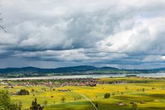 View of the Schwangau valley and the lake Forggensee neighborhood in Bavaria royalty free stock images