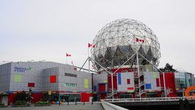 View of Science World at TELUS World of Science building in Vancouver, Canada close up. Common name Science World. July 04, 2019. Vancouver, BC, Canada royalty free stock photo