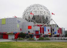 View of Science World at TELUS World of Science building in Vancouver, Canada close up. Common name Science World. July 04, 2019. Vancouver, BC, Canada royalty free stock image