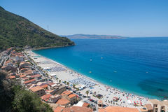 View on Scilla beach in Calabria, Italy Royalty Free Stock Photography
