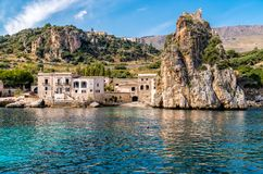 View of Scopello village at Zingaro Nature Reserve, Sicily. stock image
