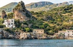 View of Scopello village at Zingaro Nature Reserve, Sicily. stock photo