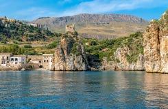 View of Scopello village at Zingaro Nature Reserve, Sicily. Royalty Free Stock Photos