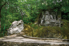 View of sculpture amidst the vegetation in the Park of Bomarzo. Stock Photo