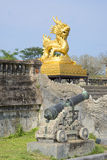 View of the sculpture golden dragon on the terrace of the forbidden Imperial city. Hue Stock Image