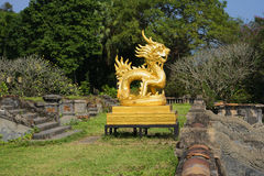 View of the sculpture Golden dragon on the terrace of the Forbidden Purple city. Vietnam Royalty Free Stock Photos