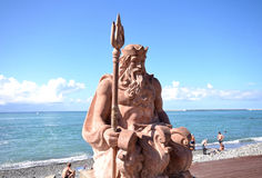 View of the sculpture of Neptune on the beach background Sochi, Stock Photos