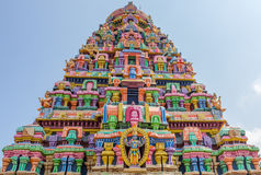 View of sculptures on tower at sarangapani temple, Tamilnadu, India - Dec 17, 2016 Royalty Free Stock Photography