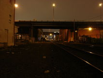 2005 view of SE Portland, OR Train Rails. Shows night view of SE Portland, OR in 2005 Royalty Free Stock Image