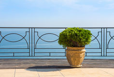 View of sea from balcony of hotel Stock Images