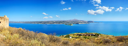 View on sea bay and old venitian fortress in Aptera on Crete island Stock Image