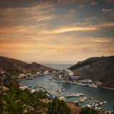 The view of the sea bay with ships Royalty Free Stock Image