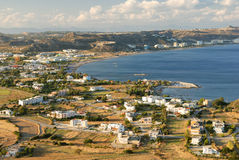 View at the sea bay and village. Aerial view at the sea bay stock image