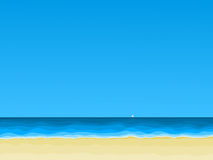View of sea beach. Vector illustration Stock Photo