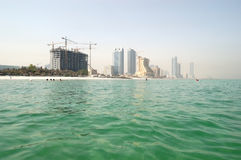 View from the sea on beach and buildings of the luxury hotels Royalty Free Stock Photo