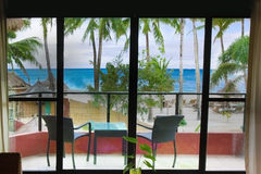 View on sea and beach from hotel room Royalty Free Stock Photos