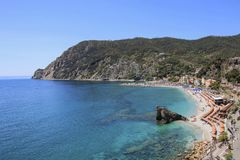 View of the sea and the beach,in Monterosso, Cinque Terre, Ligur Stock Images