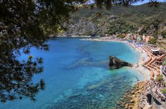 View of the sea and the beach,in Monterosso, Cinque Terre, Ligur Stock Image
