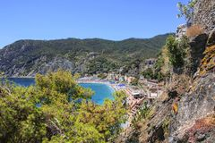 View of the sea and the beach in Monterosso, Cinque Terre, Ligur Royalty Free Stock Image