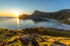 View of the sea, the beach and mountains from the mountain. Norway Stock Photos