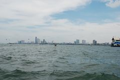 View from the sea on the big city of Pattaya stock photos