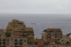 View on the sea with boat over Monaco Stock Image