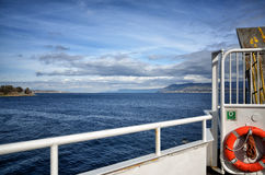 View of the sea from the bow of a ferry boat Stock Photo