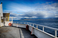 View of the sea from the bow of a ferry boat Royalty Free Stock Images