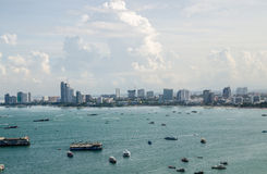 The view from the sea of the building and skyscrapers in Pattaya Royalty Free Stock Image