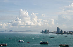 The view from the sea of the building and skyscrapers in Pattaya Royalty Free Stock Photography