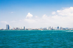 The view from the sea of the building and skyscrapers in Pattaya Stock Photography