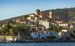 View from the sea of buildings harbor Galaxidi in Greece. Travel. Stock Photography
