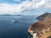 View of cruise ship from Santorini, Greece.