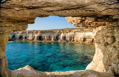 View from sea cave, Ayia Napa, Cyprus Royalty Free Stock Photos