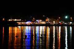 View of the sea and the city at night, Croatia, Porec Royalty Free Stock Photos