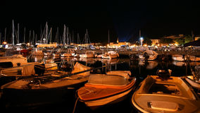 View of the sea and the city at night, Croatia, Porec Stock Photos