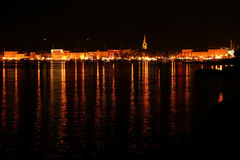 View of the sea and the city at night, Croatia, Porec Royalty Free Stock Photo
