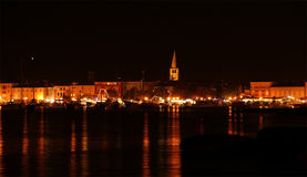 View of the sea and the city at night, Croatia, Porec Royalty Free Stock Photography