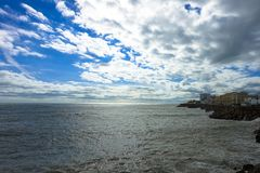 View of the sea with clouds at Cadiz, Spain in Andalusia Campo del Sur royalty free stock photos