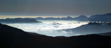View of a sea of clouds Stock Photo