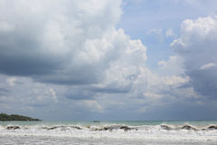 View of the sea with clouds Stock Photo