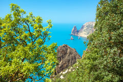 View of the sea coas. T from the mountain stock photography