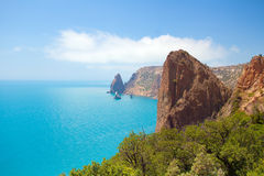 View of the sea coast. From the mountain royalty free stock photos